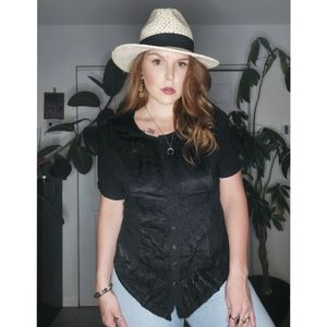 VINTAGE BLACK SILKY DETAILED EMBROIDERY BLOUSE